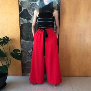 Adam Selman || Red Wide Leg Drawstring Pants